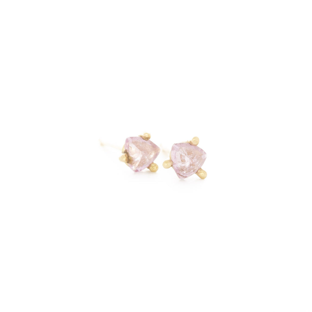 Pink Sapphire Cocktail Prong Studs