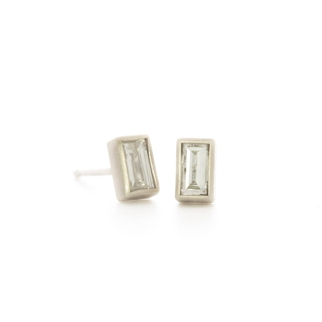 White Diamond Baguette Studs