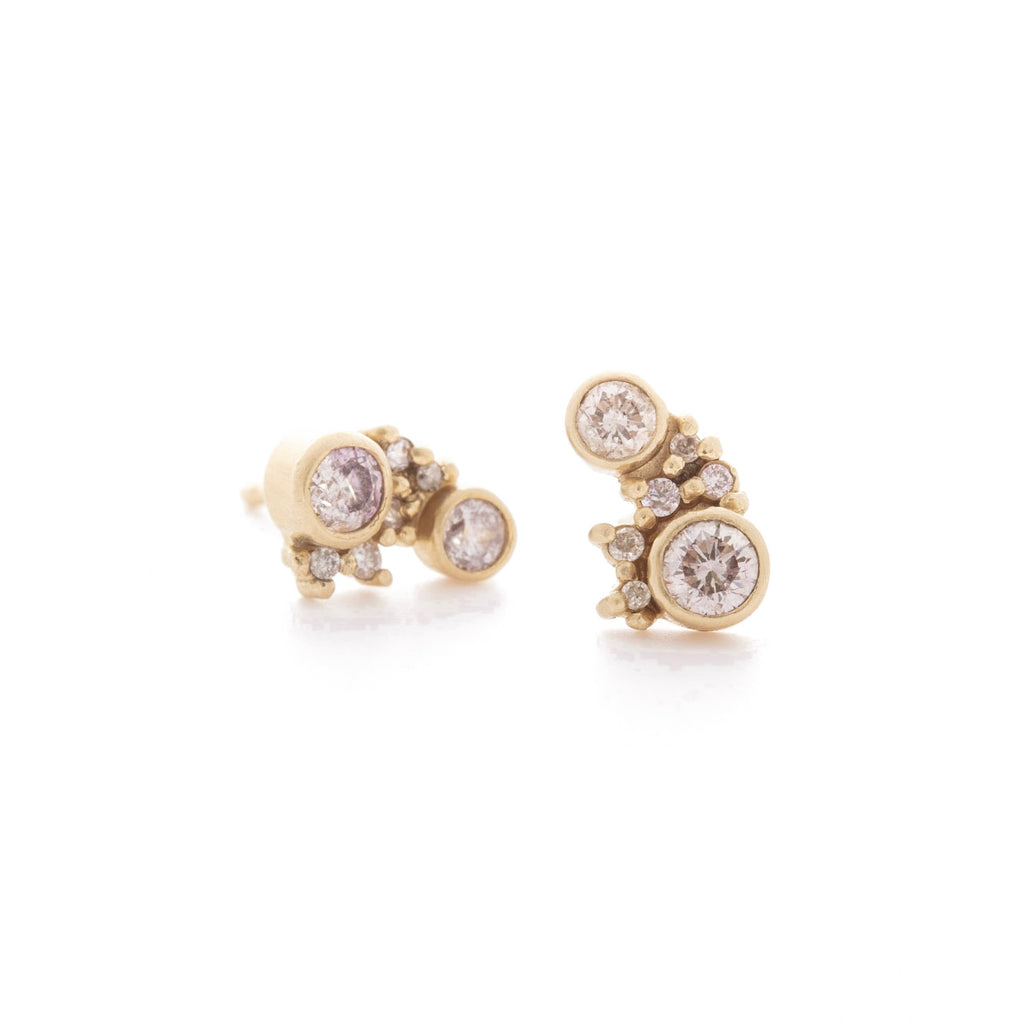 Misty Pink Diamond Cluster Studs