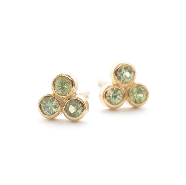 Large Sapphire Clover Studs