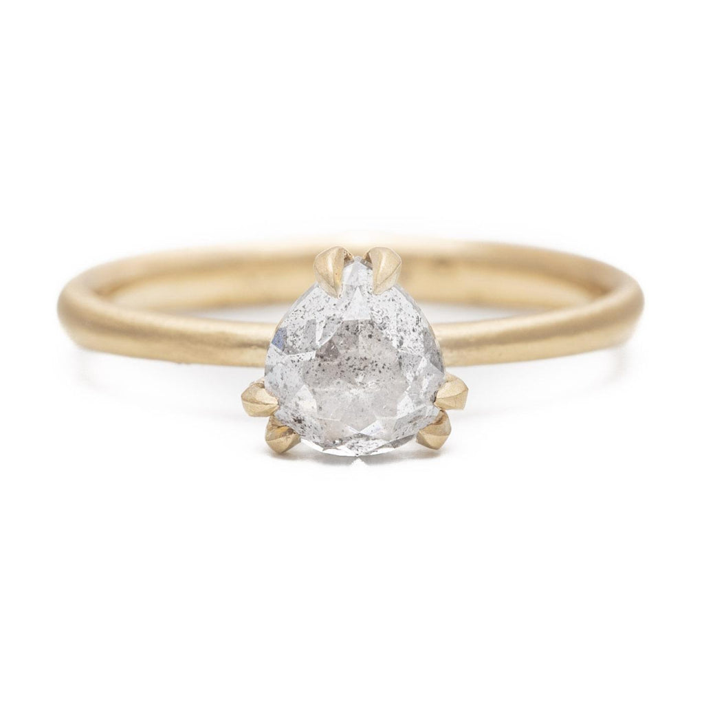 Dainty Double Prong Pear Diamond Ring