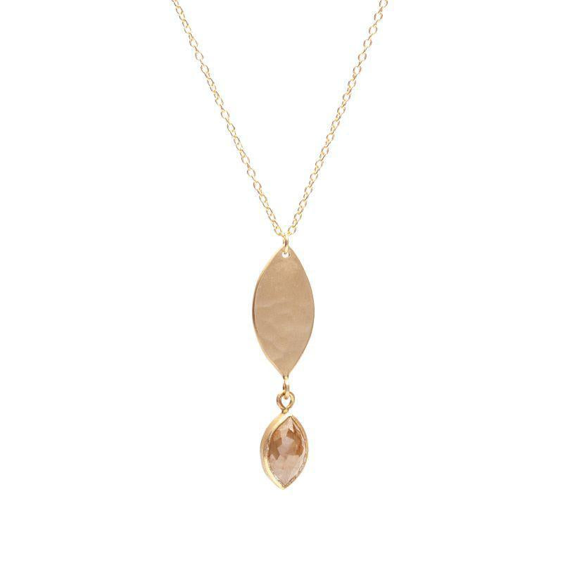 Hanging Rose Cut Marquise Necklace