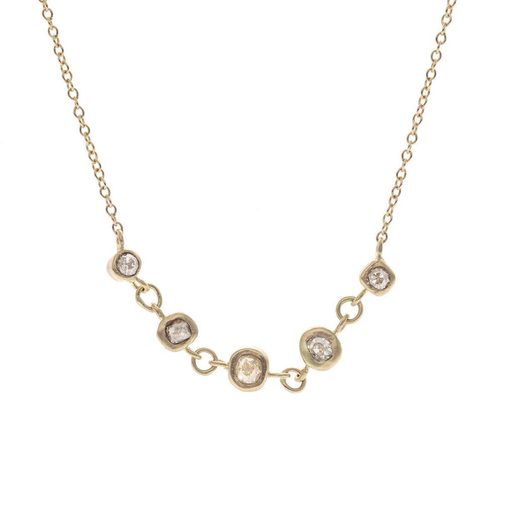 Old Mine Cut Diamond Stepping Stone Necklace