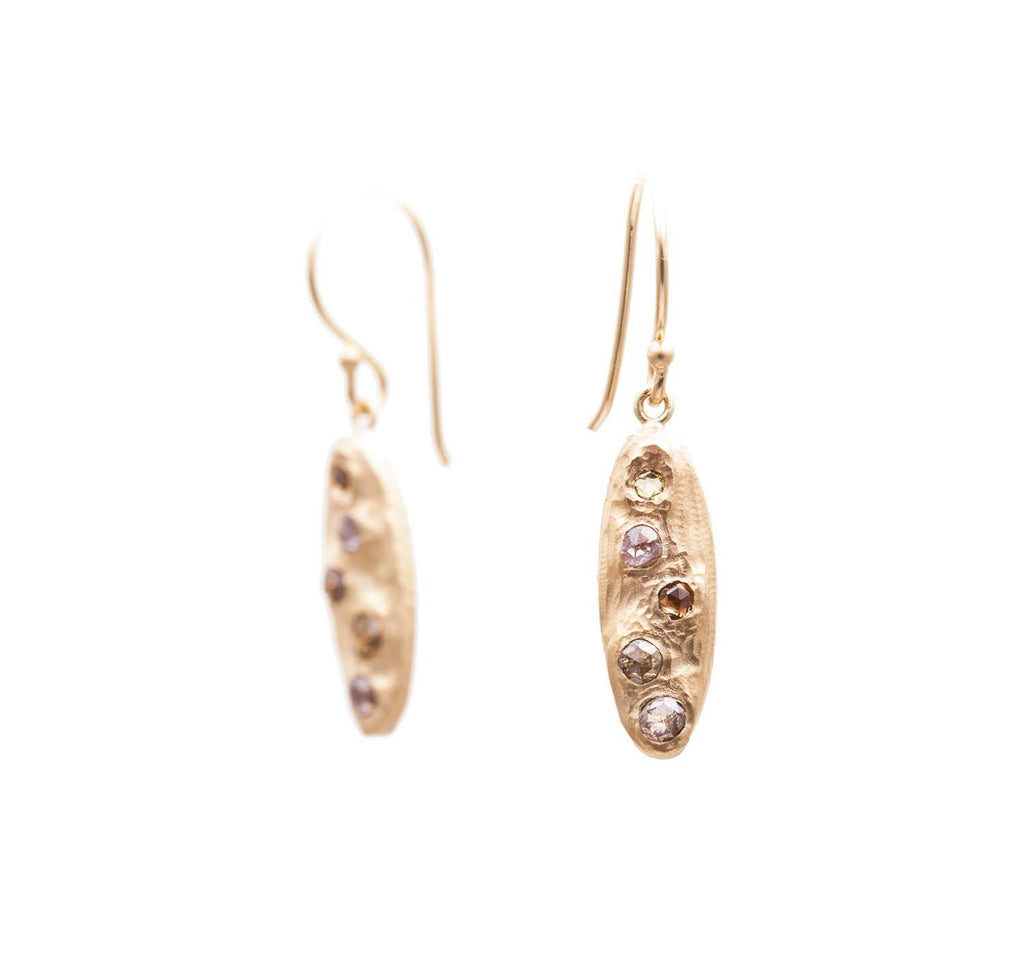 Stormy Rose Cut Diamond Oval Earrings