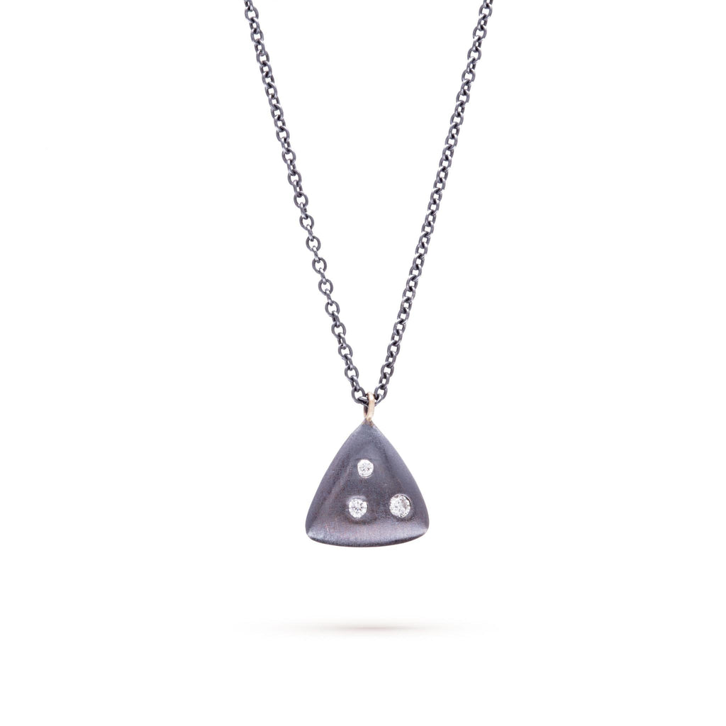 Smooth Triangle Diamond Necklace, Sterling Silver,14K