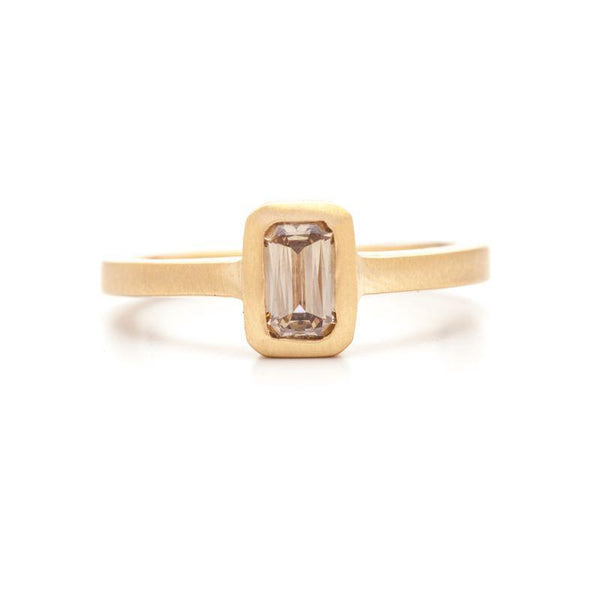 Champagne Emerald Cut Diamond Ring