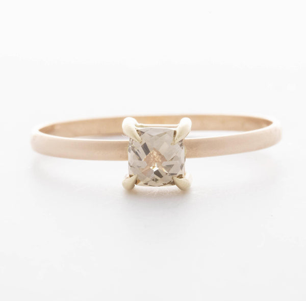 Two Tone Princess Prong Stacking Ring, 14K Yellow 6.75