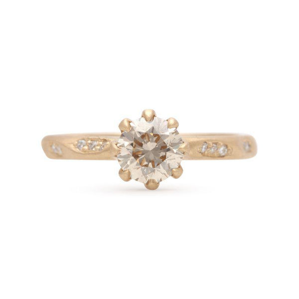 Eight Prong Champagne Diamond Ring