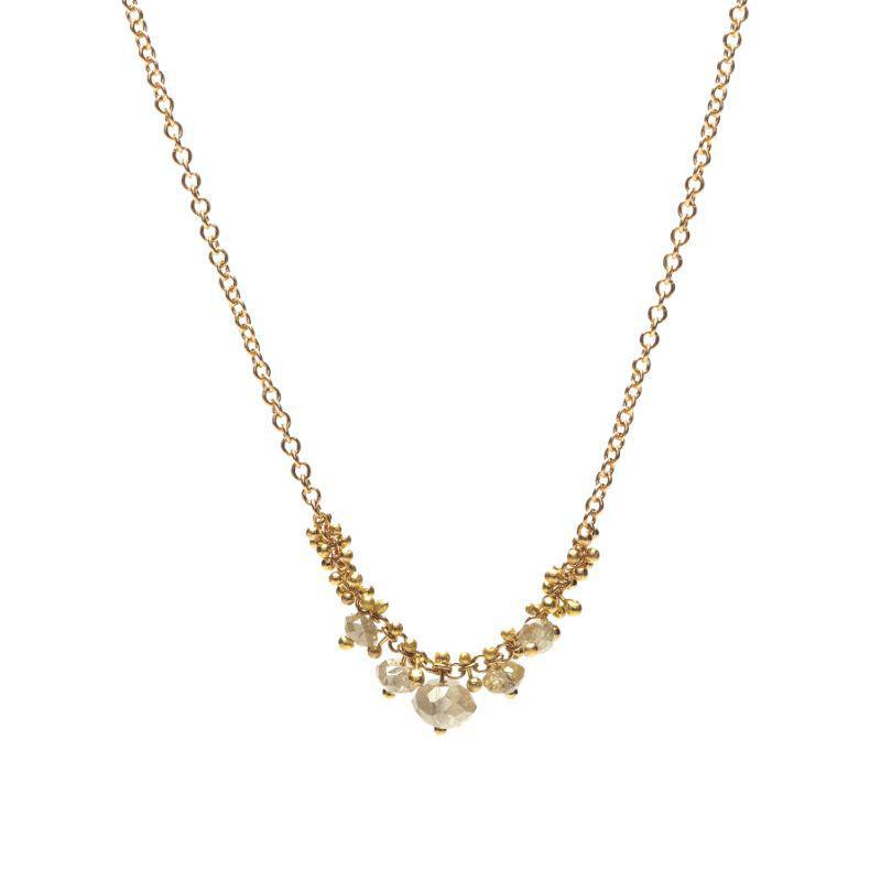 Grey Diamond Rondelle Cluster Necklace
