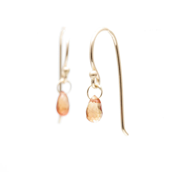 Orange Sapphire Briolette Earrings