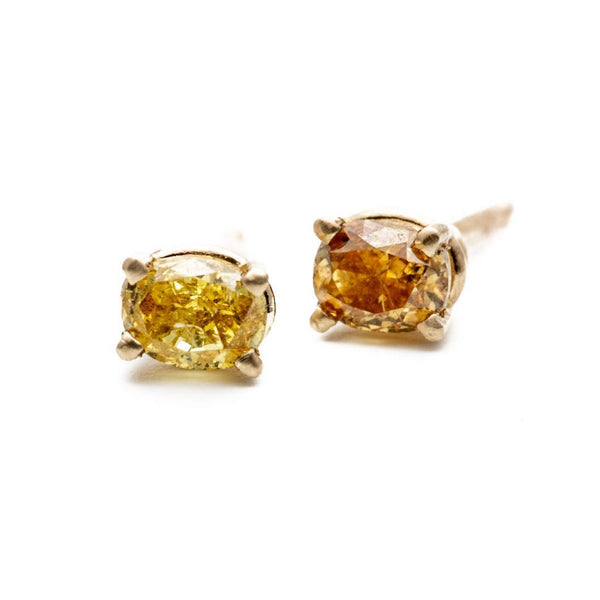 Orange Diamond Basket Studs