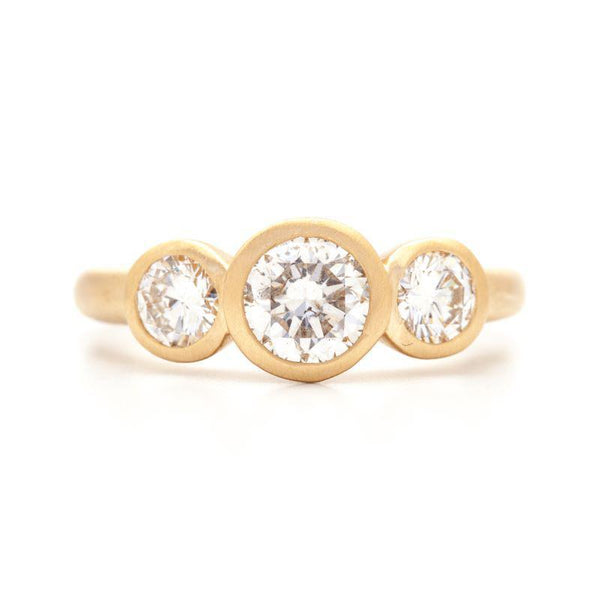 Low Triple Bezel Diamond Ring