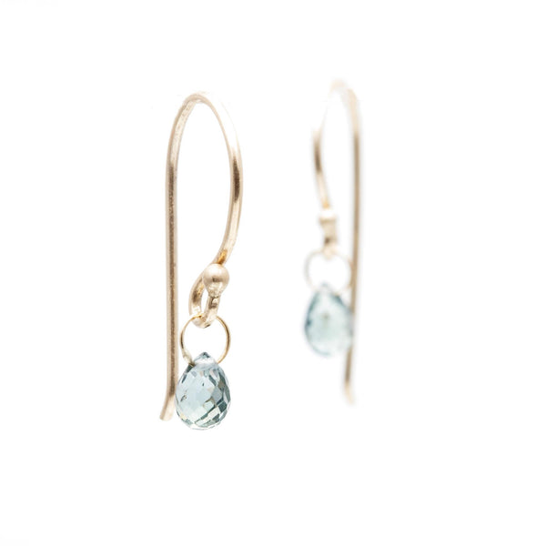 Teal Green Sapphire Briolette Earrings