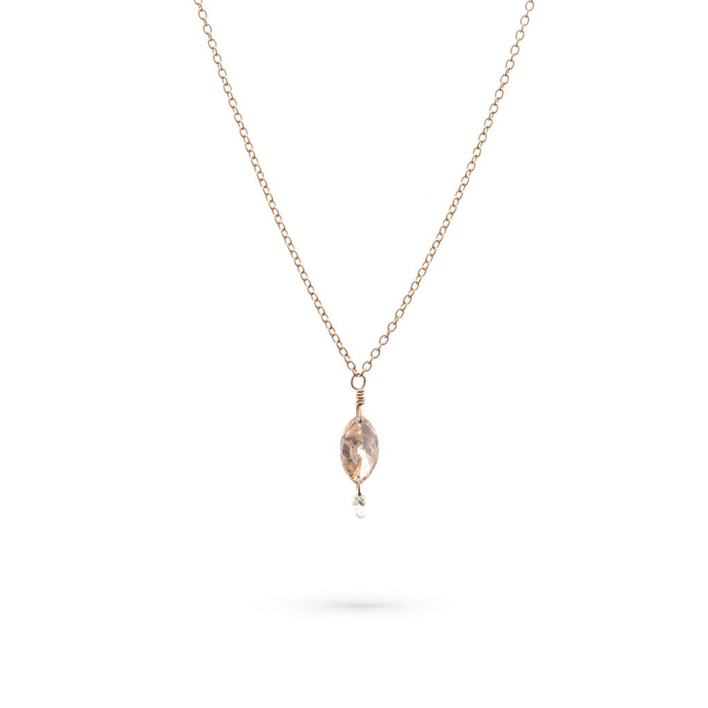 Champagne Marquise and White Briolette Necklace