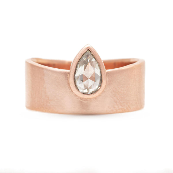 Pear Rose-Cut Grey Diamond Smooth Band