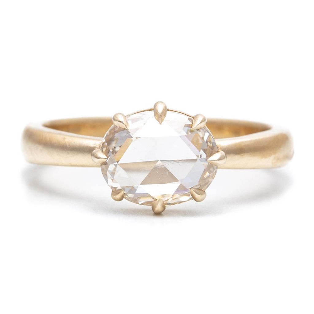 Eight Prong Rose Cut Oval Diamond Ring