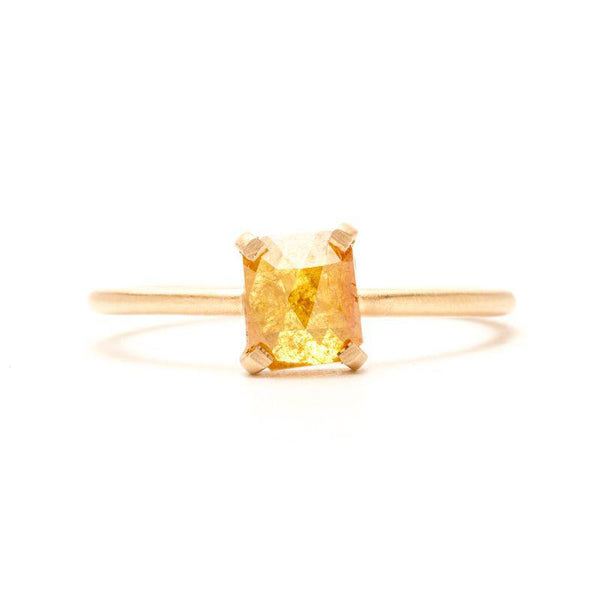 Sunny Yellow Rectangle Rose-cut Ring
