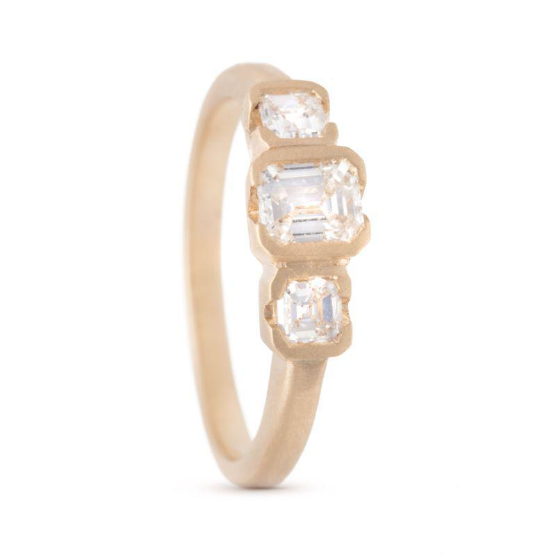 Carre Cut Triple Ravine Diamond Ring