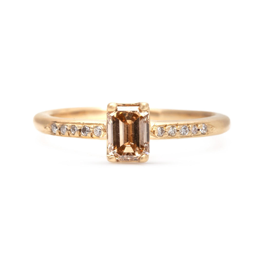 Baby Emerald Cut Champagne Diamond Ring