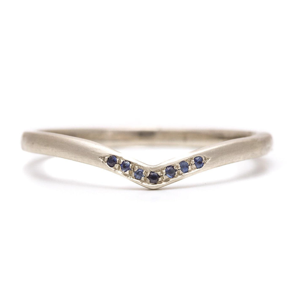 Sapphire Baby V Pave Band