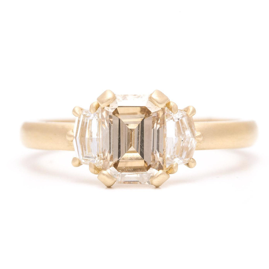 Champagne Emerald Cut And Wide Pentagon Ring