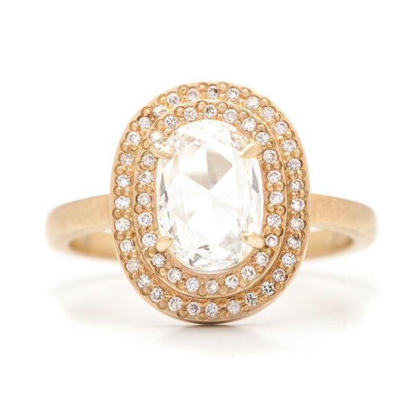 Oval Double Pavé Halo Ring