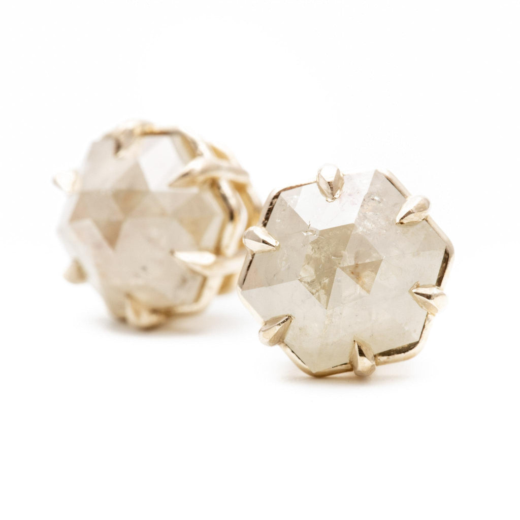 Large Off-White Diamond Hex Studs
