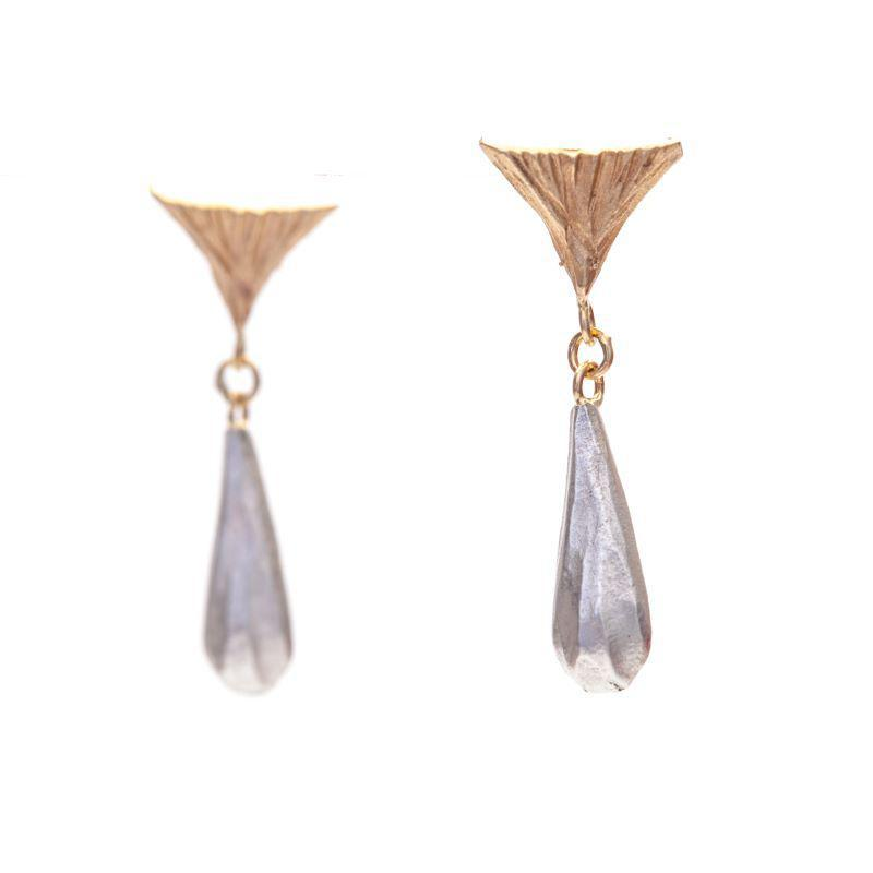 Two-Tone Triangle Tear Drop Earrings
