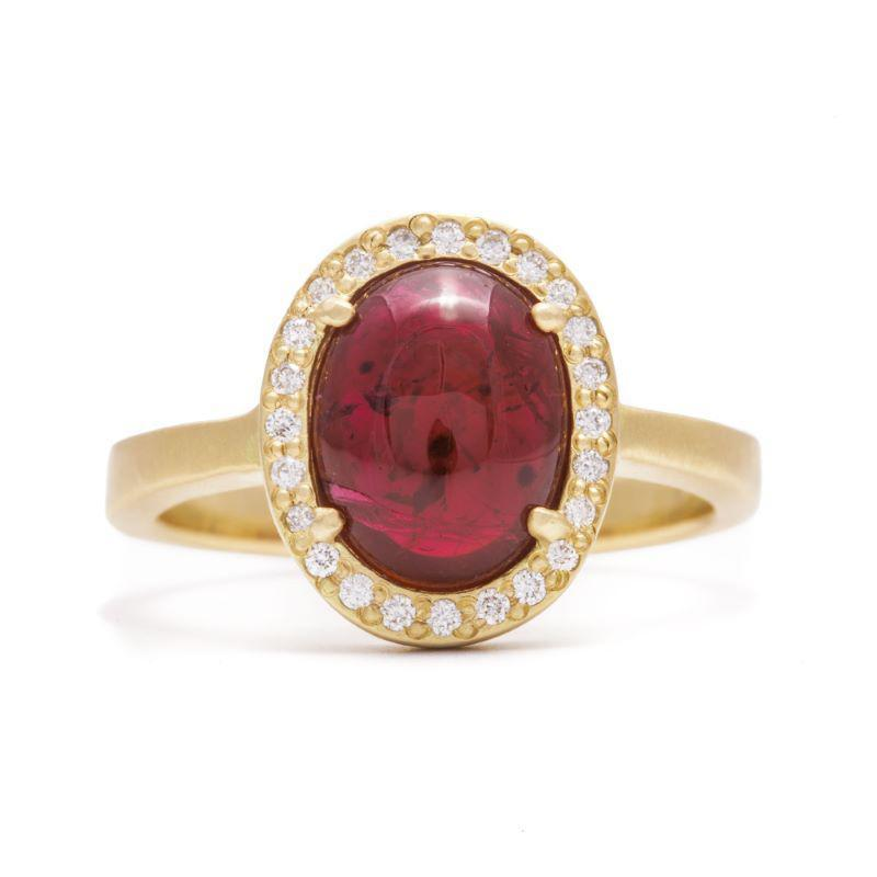 Ruby Cabochon Halo Ring