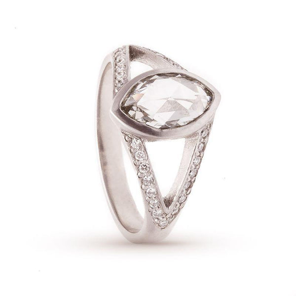 Rose-cut Marquise Platinum Split Shank Ring