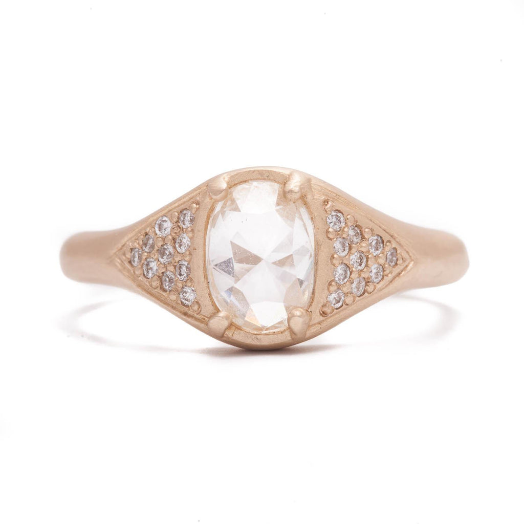Oval Rose Cut And Pavé Triangle Ring