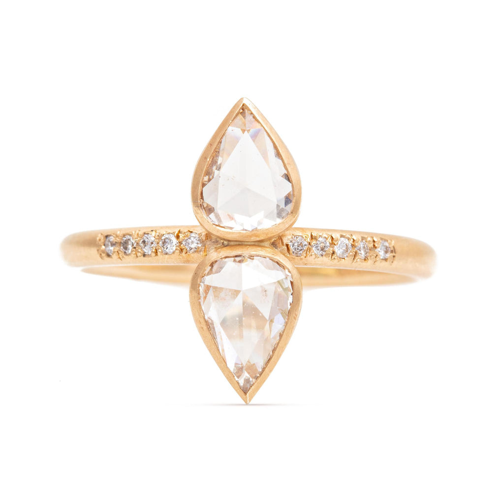 Double Pear Rose-cut Diamond Ring