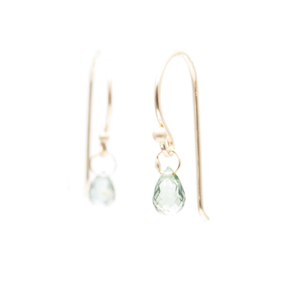 Light Green Sapphire Briolette Earrings