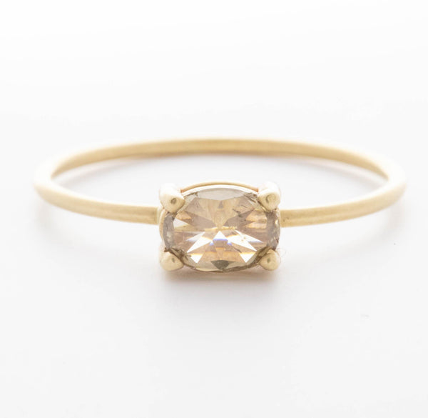 Light Green/Brown Oval Diamond Ring