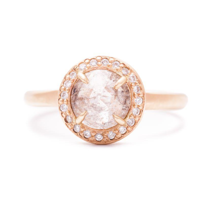 Rose Cut Beveled Edge Halo Pave Ring