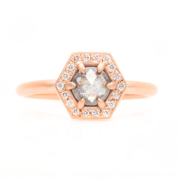 Grey Diamond Hexagon Halo Ring