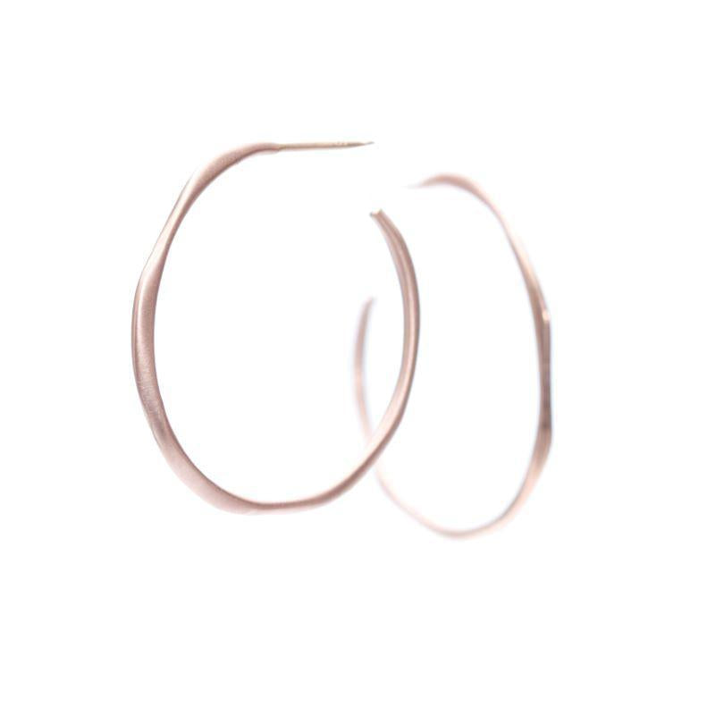 Small Side Hoop Earrings, Rose Gold