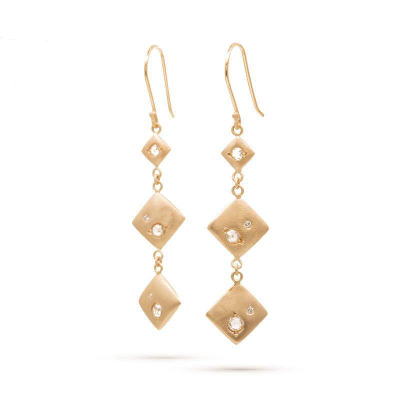 Smooth Falling Square Diamond Earrings