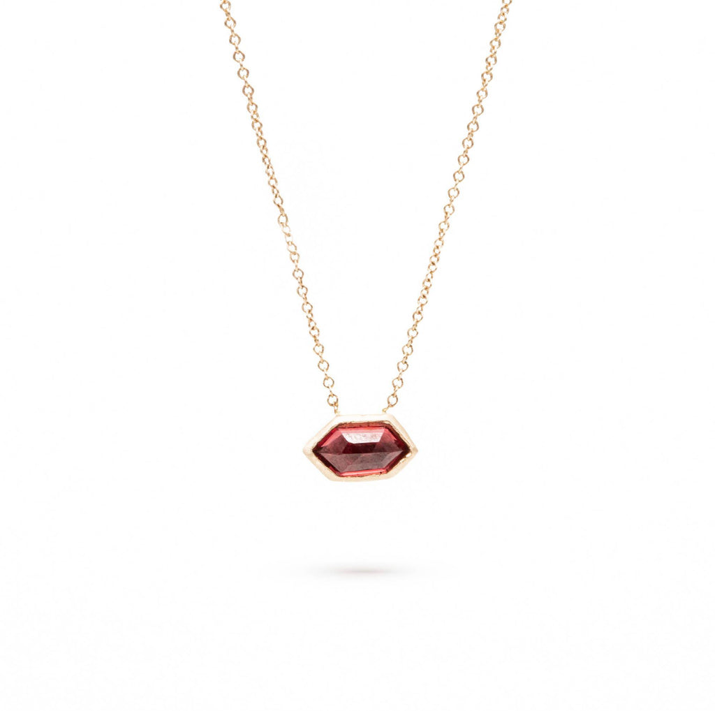 Red Inline Burmese Spinel Necklace, 14K