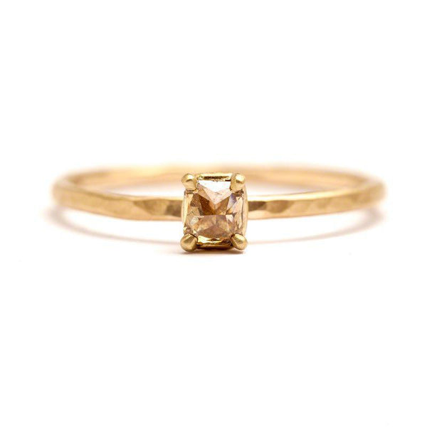 Sparkling Champagne Square Diamond Ring