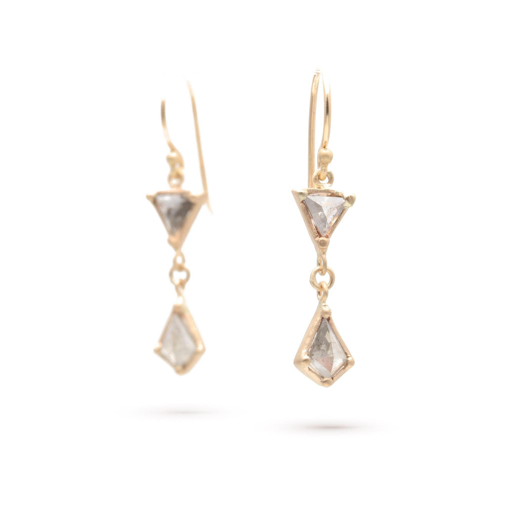 Trillion And Kite Rose-cut Diamond Earrings