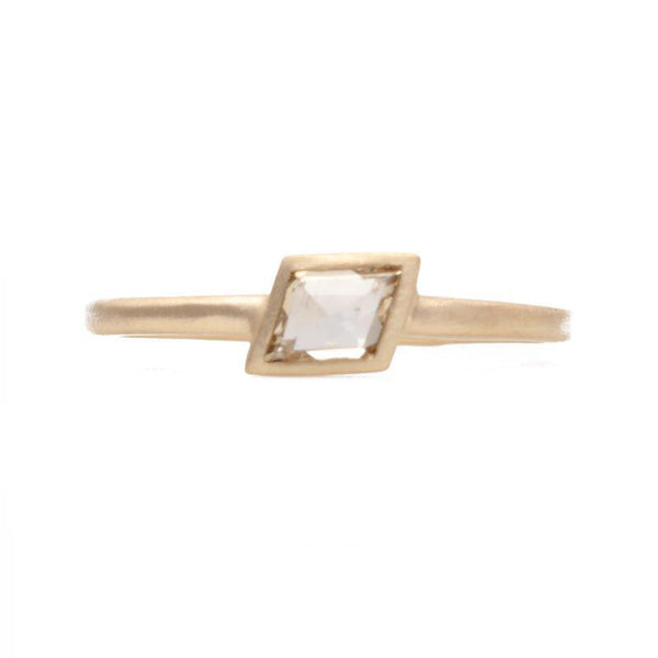 White Diamond Rhombus Ring