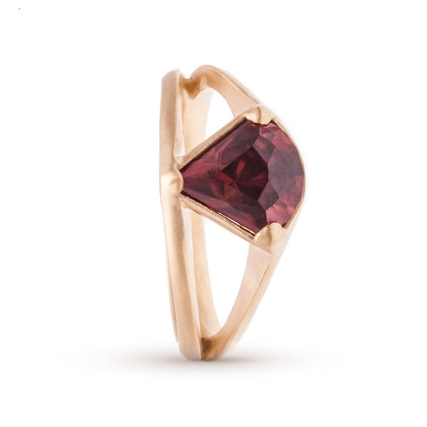 Red Zircon Split Shank Ring