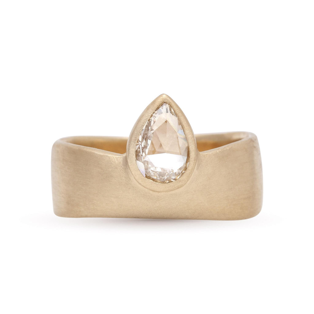 Pear Rose-Cut Diamond Smooth Band
