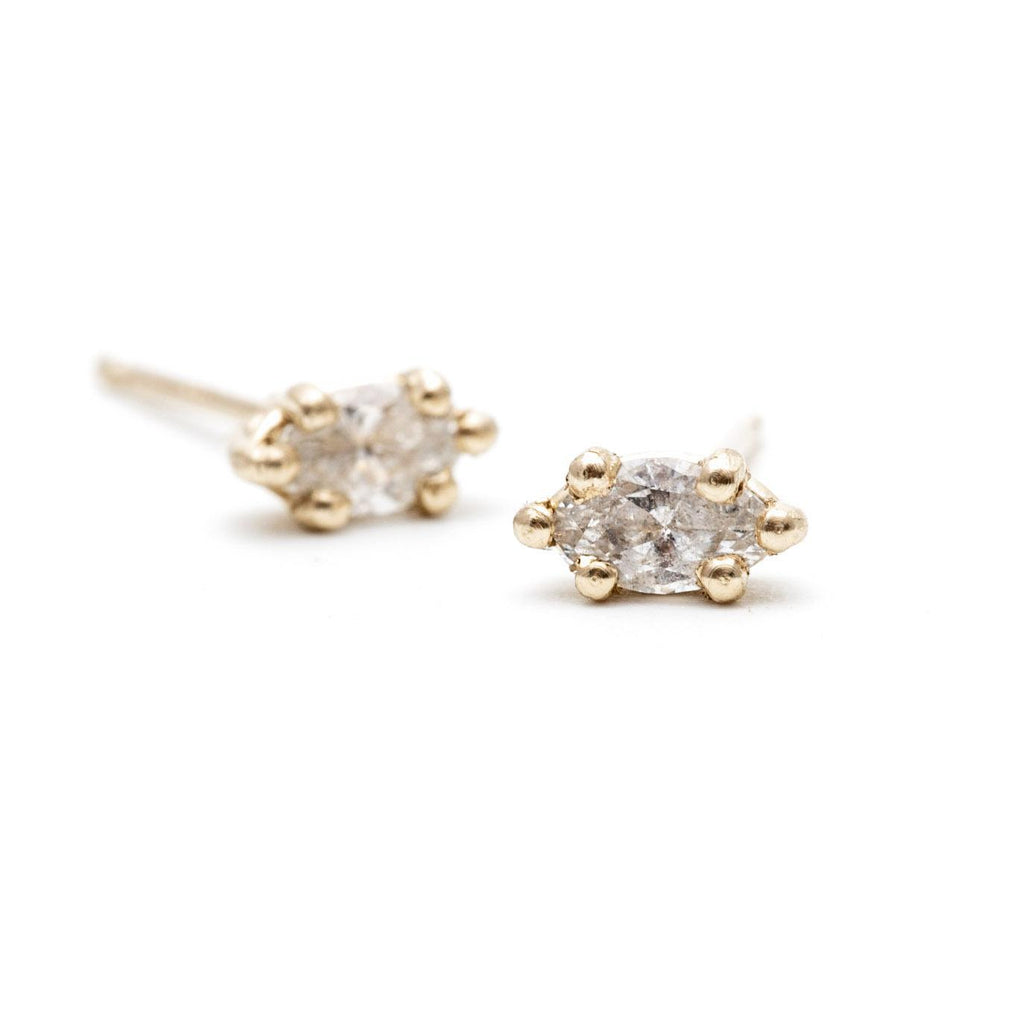Marquise Diamond Basket Studs