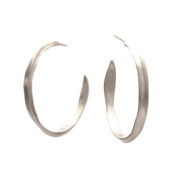 Large Spine Hoops, Sterling Silver
