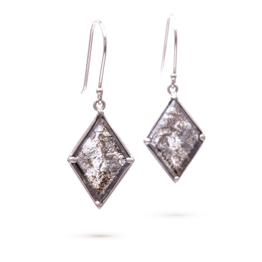 Speckled Black Diamond Kite Earrings
