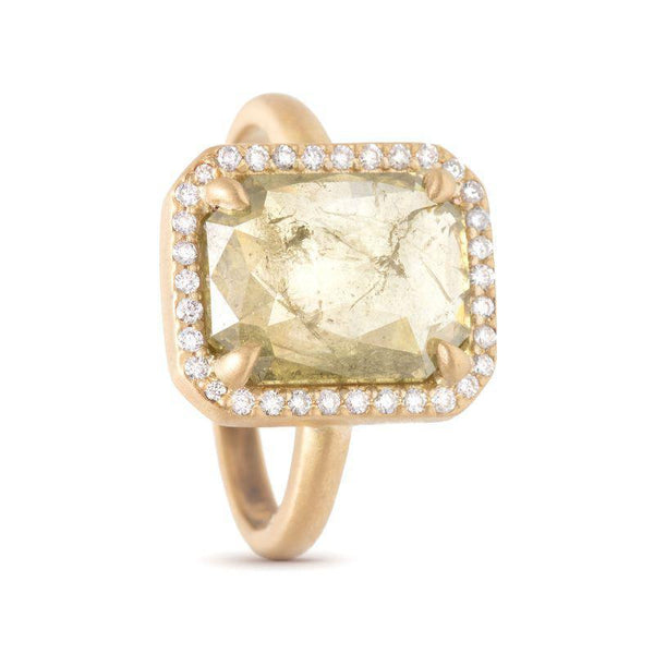 Light Green Emerald Cut Halo Ring