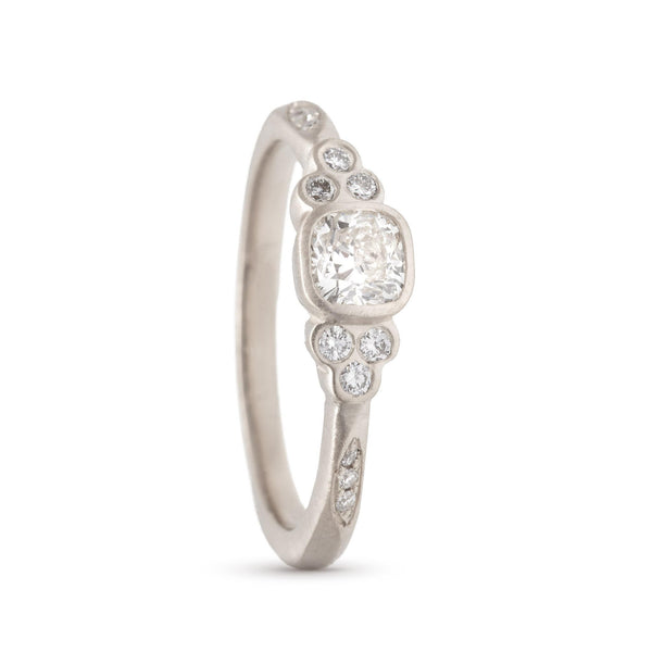Dainty Cushion Clover Cluster Ring