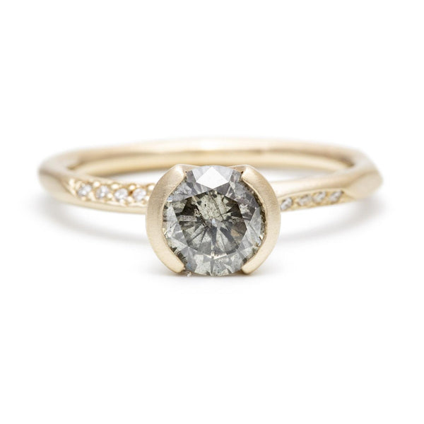 Grey Diamond Ravine Pavé Ring